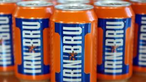 Some cans of Irn Bru, the Scottish national beverage.