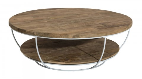 goran table basse coque blanche double plateau 100 x 100 cm