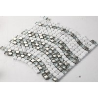 Cream Stone and Glass Mosaic Tile Wave Glass Marble Tile