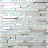 Iridescent White Glass Tile Wave Pattern Silver Stainless ...