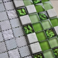 Stone and Glass Mosaic Tiles Square Green Bathroom Glass ...