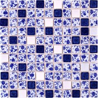 Blue and White Tile Glossy Porcelain Mosaic Bathroom Tiles ...