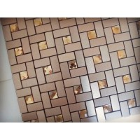 Adhesive Mosaic Tile Bronze Brushed Aluminum Metal Glass