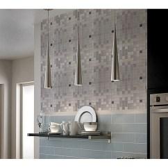 Stick On Backsplash Tiles For Kitchen Lowes Track Lighting Adhsive Mosaic Tile Square Brushed Metal Wall ...