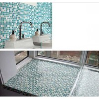 Cream Stone Crackle Crystal Tile Backsplash Blue Glass ...