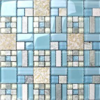 Backsplash Tiles Kitchen Blue Glass & Stone Blend Mosaic ...