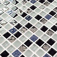 Black and white glass mosaic tile glossy glass wall tile