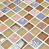 Glass stone mosaic tiles yellow glass mix stone mosaic