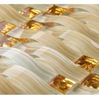 Hand Painted Glass Tile Gold Crystal Mosaic Backsplash ...