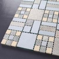 Backsplash Tiles Kitchen Blue Glass & Stone Blend Mosaic