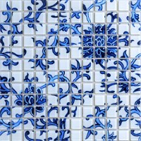 Crystal Glass Tile Blue & White Puzzle Mosaic Tile Crackle ...