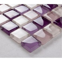 purple mosaic tiles crystal glass tile bathroom floor ...