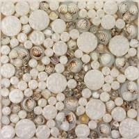 White Mosaic Tile Resin Glass Conch Tile Backsplash Penny ...