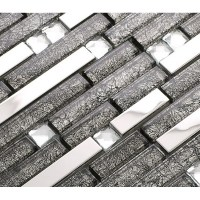grey glass interlocking mosaic tile silver 304 stainless ...