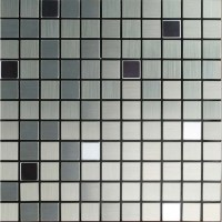 Metallic Mosaic Tile Grey Square Brushed Aluminum Panel ...