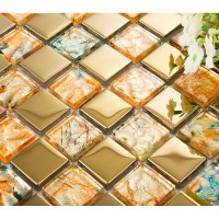 gold metal coating mosaic tile hand paint tile wall ...