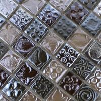 Glass Mosaic Tiles melted Crack Crystal Backsplash Tile ...