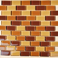 Glass Mosaic Tiles Orange Crystal Backsplash Subway Tile ...