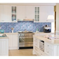 Grey Marble Stone Blue Glass Mosaic Tiles Backsplash ...