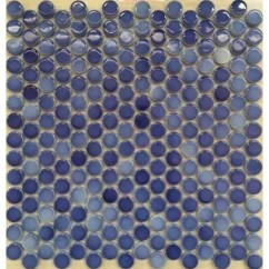 Penny Tile Backsplash Kitchen Desing Round Porcelain Blue