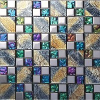 Iridescent Mosaic Tile Plated Crystal Glass Backsplash ...