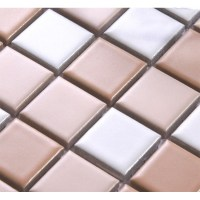 Beige Porcelain Square Mosaic Tiles Wall Designs Ceramic