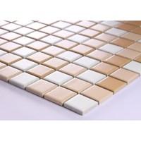 Beige Porcelain Square Mosaic Tiles Wall Designs Ceramic ...