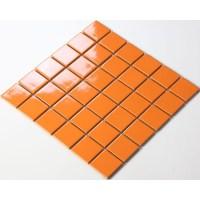 Glazed Porcelain Orange Mosaic Tiles Wall 48mm Ceramic ...