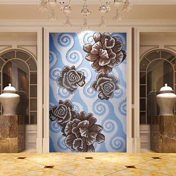 Crystal Glass Mosaic Tile Puzzle Wall Backsplashes Bathroom Decor Flower Pattern Kqyt54