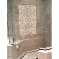 Mother of Pearl Tile Shower Wall and Floor Backsplash