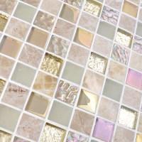 Crystal Glass Mirror Tile Backsplash Stone & Glass Blend ...