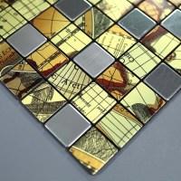 Metallic Mosaic Tile Globe Pattern Bathroom Decorative ...