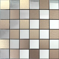 Metal Tile Backsplash Kitchen Stainless Steel Tiles Square ...