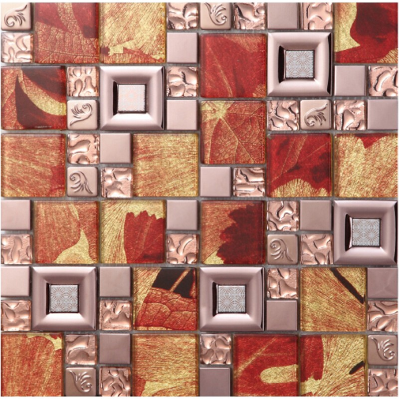 red crystal glass mosaice tile 304 stainless steel FREE