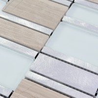 Stone and Glass Tile Brushed Aluminum Silver Metal Wall