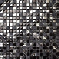 Black Glass Mosaic Diamond Gray Marble Plated Silver ...