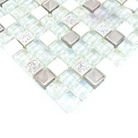 Glass and stone mosaic silver glass tiles