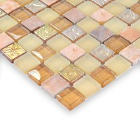 Glass stone mosaic tiles yellow glass mix stone mosaic