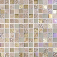 Crystal Glass Mirror Tile Backsplash Stone & Glass Blend ...
