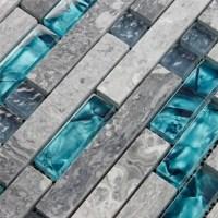 Gray Marble Backsplash Tiles Teal Blue Glass Mosaic Wall Tile