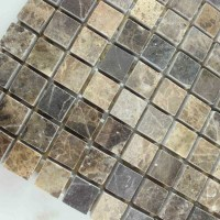 Stone Mosaic Tile Square Brown Pattern Washroom Wall ...