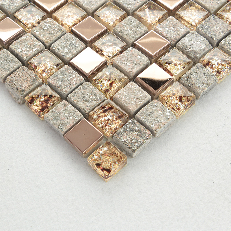 Natural Stone and Glass Mosaic Sheets Stainless Steel