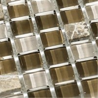 Stone and Glass Mosaic Tiles Brown Square Tiles Natural ...