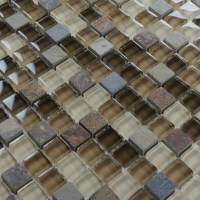 Stone Glass Mosaic TileSsmoky Mountain Square Tiles With ...