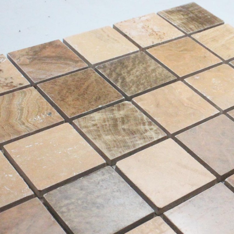 Natural Stone Mosaic Tile Square Brown Patterns Bathroom