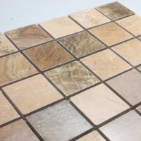 Natural Stone Mosaic Tile Square Brown Patterns Bathroom