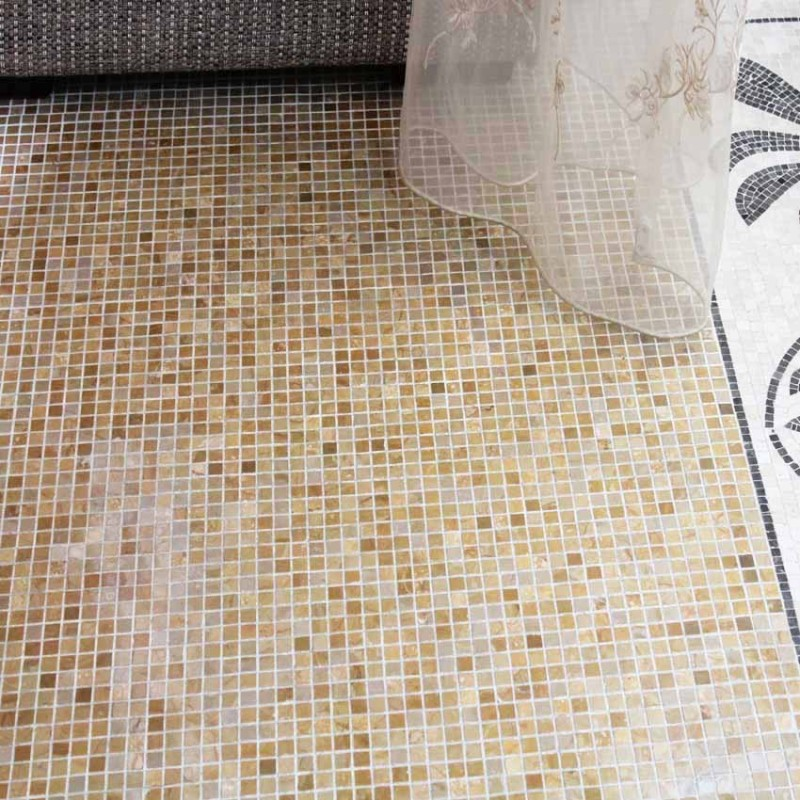 Stone Mosaic Tile Square Patterns Washroom Wall Marble