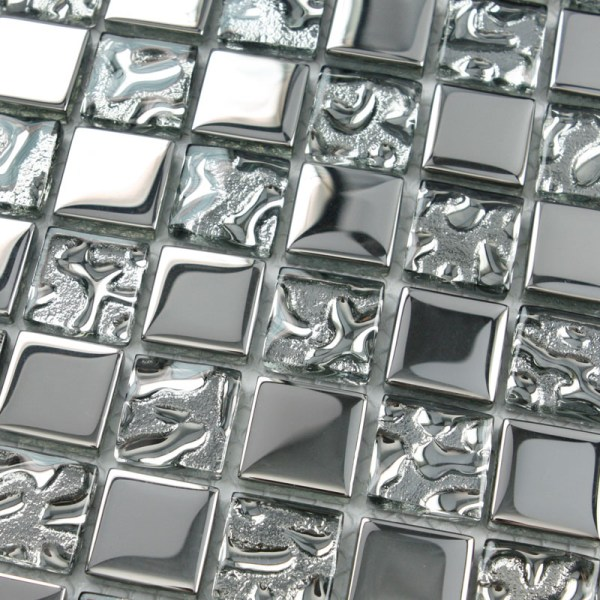 Crystal Glass Tiles Sheet Square Mosaic Tiling Bathroom