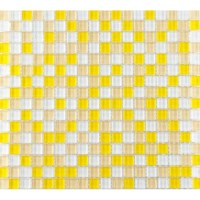 Yellow and White Glass Mosaic Glossy Tile Backsplash Wall ...