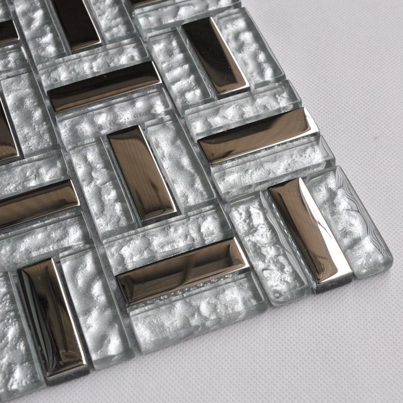 silver stainless steel backsplash clear glass tile metal mosaic